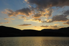 Sunset at the Terradets reservoir, Catalan Pyrenees, Spain Royalty Free Stock Images