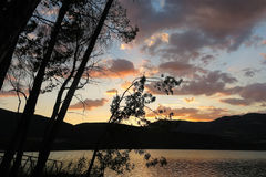 Sunset at the Terradets reservoir, Catalan Pyrenees, Spain Royalty Free Stock Photos