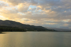 Sunset at the Terradets reservoir, Catalan Pyrenees, Spain Royalty Free Stock Photography