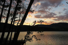 Sunset at the Terradets reservoir, Catalan Pyrenees, Spain Stock Photography