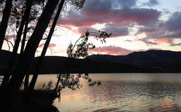 Sunset at the Terradets reservoir, Catalan Pyrenees, Spain Royalty Free Stock Photo
