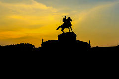 Sunset of Thai King statue monument in Ayutthaya Thailand Stock Photos