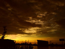 Sunset in thailand. Sunset nice beautiful sky yellow Royalty Free Stock Images