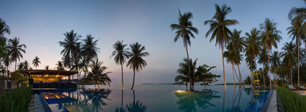 Sunset in Thailand resort. Near with waterpool Royalty Free Stock Photo