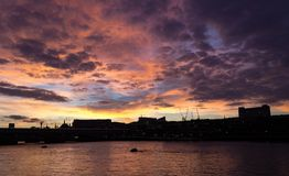 Sunset on the Thames. Sunset on the River Thames in London England Royalty Free Stock Image