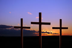 Sunset With Thee Crosses Stock Image