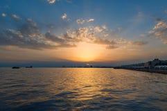 Sunset at Thessaloniki. Sunset at harbor in Thessaloniki summer 2016 royalty free stock image
