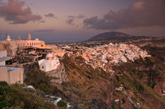 Sunset in Thira of Santorini island Stock Photography