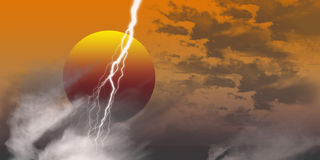 Sunset thunder. An image showing a red orange and white sunset mood with grey and white clouds and a flash of white lightening Stock Photos