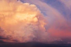 Sunset thundercloud. Dramatic vivid sunset sky before storm royalty free stock image
