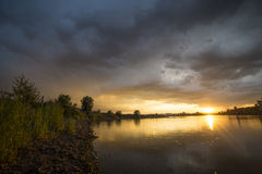 Sunset after a thunderstorm. Irkutsk at sunset after a thunderstorm stock photography