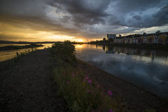 Sunset after a thunderstorm. Irkutsk at sunset after a thunderstorm stock photo