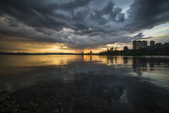 Sunset after a thunderstorm. Irkutsk at sunset after a thunderstorm royalty free stock images