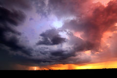 Sunset Thunderstorm Lightning Landscape Stock Image
