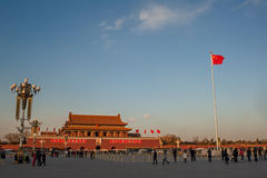 Sunset at Tiananmen square Royalty Free Stock Photos
