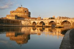 Sunset on Tiber River #2. View on Tiber river and st Angel castle in Rone, Italy Royalty Free Stock Image