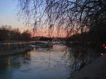 Sunset on the Tiber river Royalty Free Stock Image