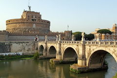 Sunset on the Tiber, Rome. Sunset on the Tiber, the river of Rome, and it's bridges stock photos