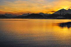 Sunset in Tierra del Fuego. Watching the sunset over the mountains from the Beagle Channel in Tierra del Fuego, Argentina Stock Photography