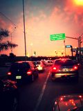 Sunset at tigre freeway Stock Photo