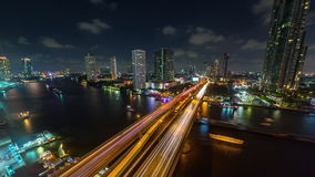 Sunset till night bangkok river traffic bridge roof top panorama 4k time lapse thailand stock footage