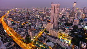 Sunset till night illumination bangkok city roof top panorama 4k time lapse thailand stock video footage