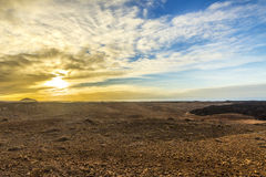 Sunset at Timanfaya volcanic national Park in Lanzarote Stock Photo