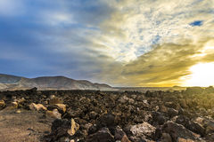 Sunset at Timanfaya volcanic national Park in Lanzarote Stock Photography