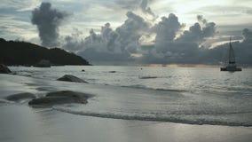 Sunset time at Anse Lazio beach, Praslin, Seychelles. stock video footage