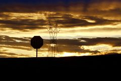 Sunset time at Arizona. Beautiful desert sunset Stock Photos