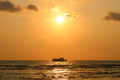 Sunset time. Boat tour at sunset. Seascape of sunset at Koh Chan. G island, Trat Thailand Royalty Free Stock Photo