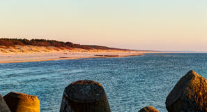 Sunset time at Curonian spit. Lithuania stock photography