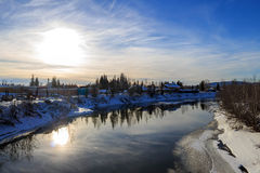 Sunset time, Fairbanks downtown, river Stock Photos