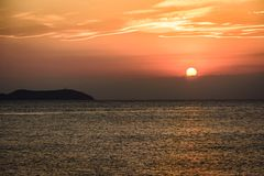 Sunset time in Ibiza, Mediterranean sea. Sunset on the sea in Ibiza island. West Mediterranean sea Stock Photography