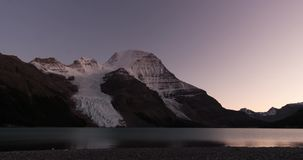 Sunset time lapse of mount Robson and Berg lake time lapse stock video