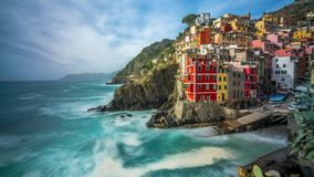 Sunset time lapse of Riomaggiore in Italy. One of the vilages of cinque terre on the coast of Liguria stock video footage