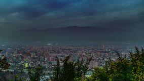 Sunset time lapse at Santiago de Chile with mist. Top view sunset time lapse at Santiago de Chile city with blurred atmosphere stock video