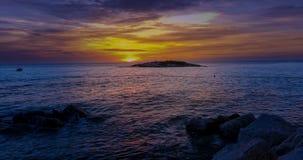 Sunset beach on Sveti Nikola island in Porec, Croatia, time lapse. Sunset time lapse from Sunset beach at holiday resort Sv. Nikola, Isabella island in Porec stock video