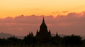 Sunset time lapse with Temple Silhouette in Bagan, Myanmar stock footage