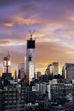 Winter Sunset Freedom Tower Lower Manhattan New-York Stock Image