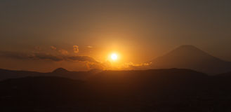 Sunset time with Mountain Fuji in autumn season Stock Images