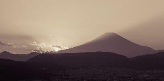 Sunset time with Mountain Fuji in autumn season Stock Photography