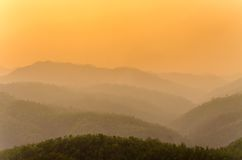 The sunset time and mountain at Wat Phra That Doi Kong Mu Royalty Free Stock Images