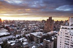 Winter Dusk at West Village Manhattan New-York Stock Photos