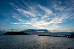 Sunset time by the pier. Twilight scene at Koh Phangan, Thailand Royalty Free Stock Photos