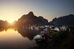 Sunset time Reine Village, Lofoten Islands Stock Photos