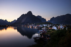 Sunset time Reine Village, Lofoten Islands Royalty Free Stock Photos
