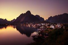 Sunset time Reine Village, Lofoten Islands Royalty Free Stock Photo
