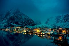 Sunset time Reine Village, Lofoten Islands royalty free stock image