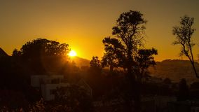Sunset Time by Residential Area in San Francisco. Time Lapse of Sunset Time by a Residential Area in San Francisco stock video
